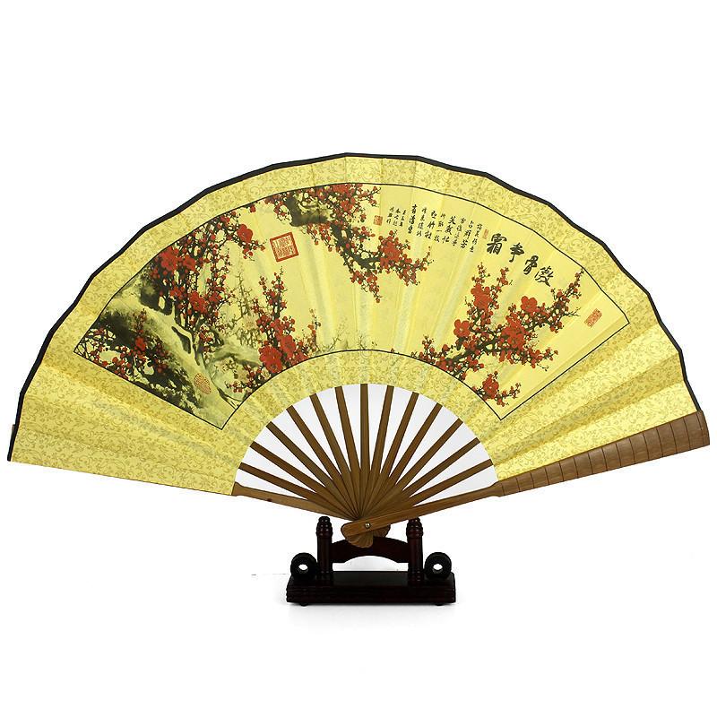 古风扇子男士10寸折扇古典扇子工艺品竹节双绢扇复古工艺折叠扇-江山