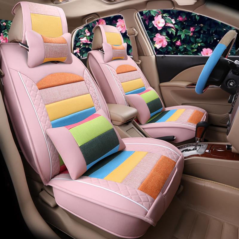 适用于汽车坐垫卡通可爱座套男女士全包亚麻四季通用大众高尔夫朗