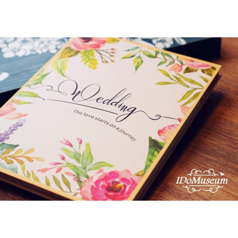 の手绘玫瑰 结婚礼金簿 粉色婚礼签到册 签到本 签名册