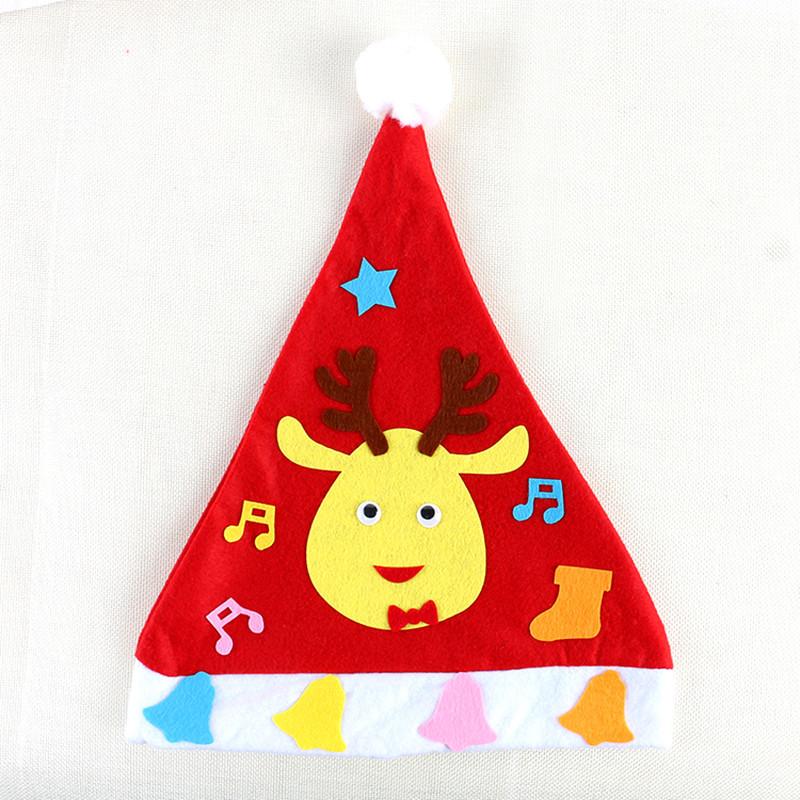手工制作diy圣诞帽儿童成人无纺布卡通头饰帽子材料包