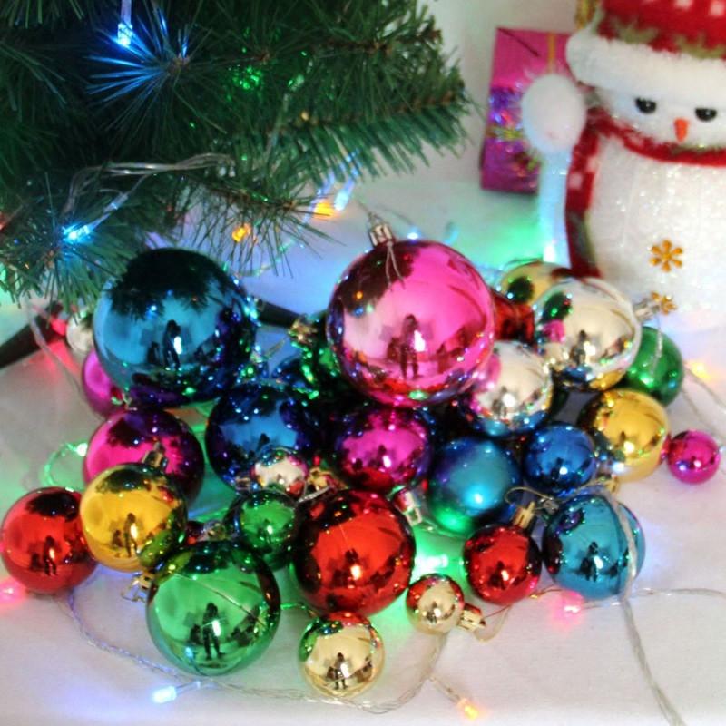 圣诞球圣诞节日装饰圣诞树彩球套餐44个幼儿园商场超市挂件