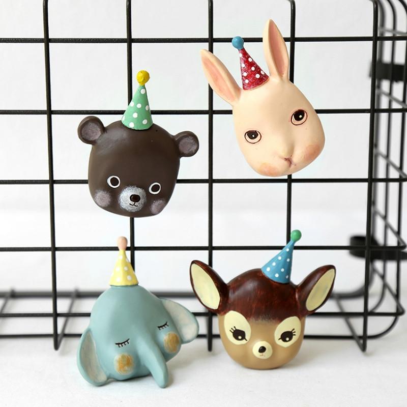 创意马戏团冰箱贴 萌萌哒3d立体动物磁贴 森系树脂装饰贴