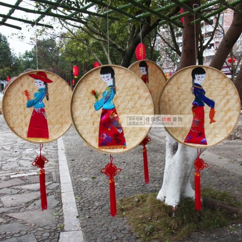 幼儿园装饰用品走廊环境布置材料竹编民族挂饰 商场店铺空中吊饰
