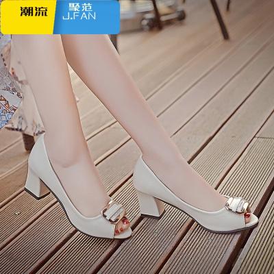 聚范潮流女鞋春夏季新款甜美蝴蝶結媽媽鞋子魚嘴單鞋女粗跟高跟鞋中跟女士皮鞋