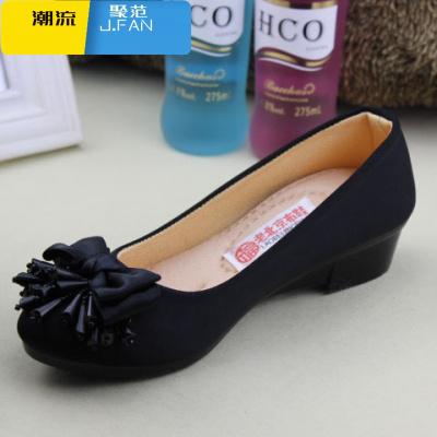 聚范潮流女鞋春季老北京布鞋女鞋中跟單鞋粗跟休閑鞋黑色工作鞋職業禮儀媽媽鞋