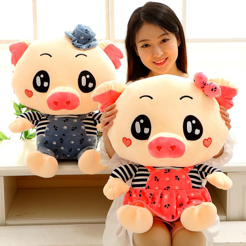 可爱三顺猪甜心猪猪公仔情侣猪头靠垫睡觉抱枕头儿童毛绒玩具大号布娃