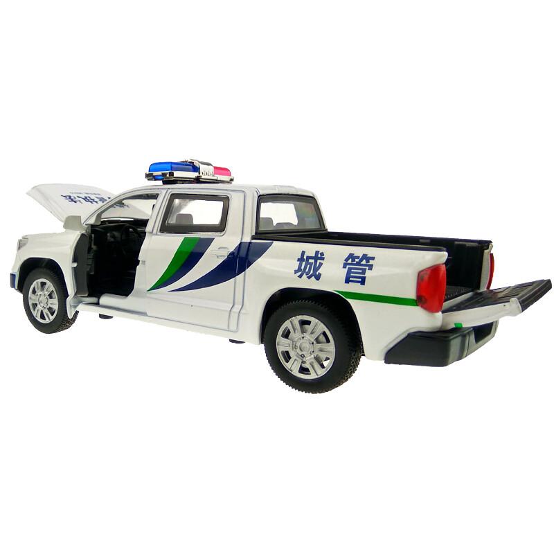 坦途皮卡工程車警車模型兒童玩具車1:32合金模型聲光回力汽車送女友