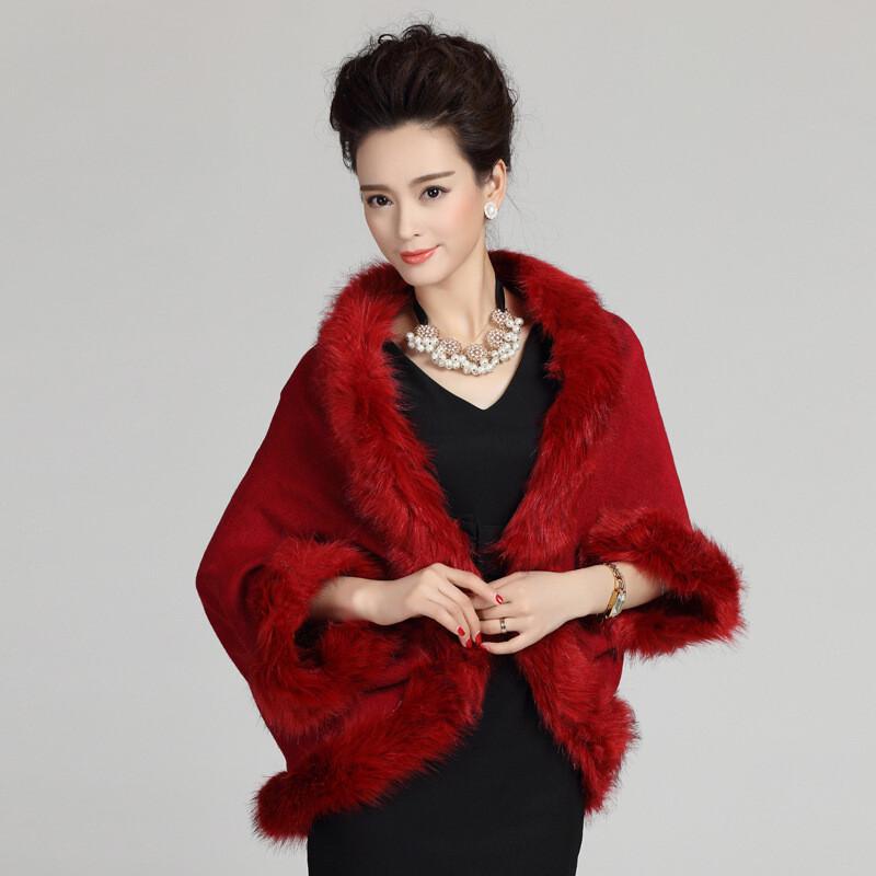 皮草新款开衫女装时尚外套秋冬斗篷针织披肩外套酒红均码制冷设备帝哈有限公司图片