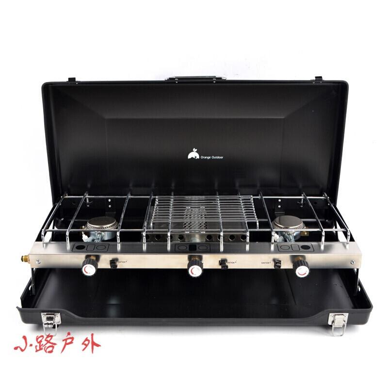 戶外便攜烤肉爐子燃氣燒烤爐接煤氣罐 野外折疊黑色燒烤架
