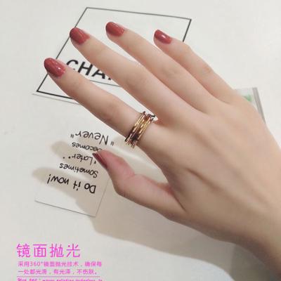 日韓版潮人時尚個性創意戒指女 韓國簡約玫瑰金食指指環彩金飾品