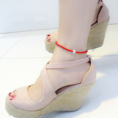 纯银红绳脚链时尚韩版女款情侣饰品脚链男女款