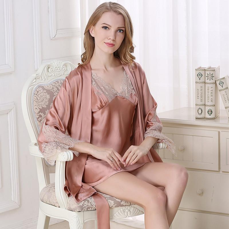 真丝两件套装中长款丝绸睡袍性感蕾丝吊带桑蚕丝睡衣图片