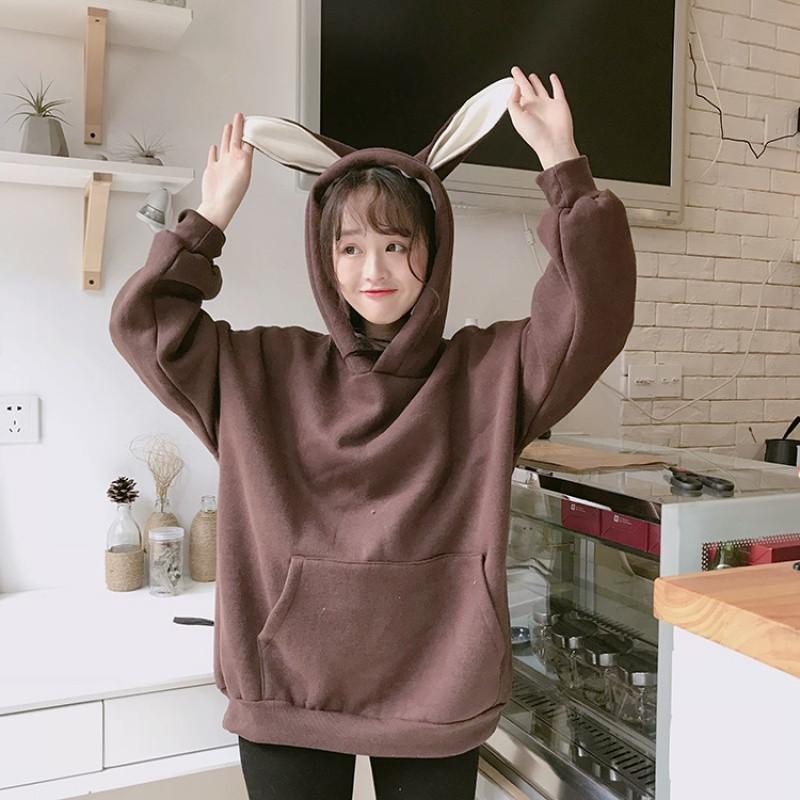 新款秋冬新款韩版宽松兔耳朵加绒加厚连帽卫衣外套学生可爱上衣女
