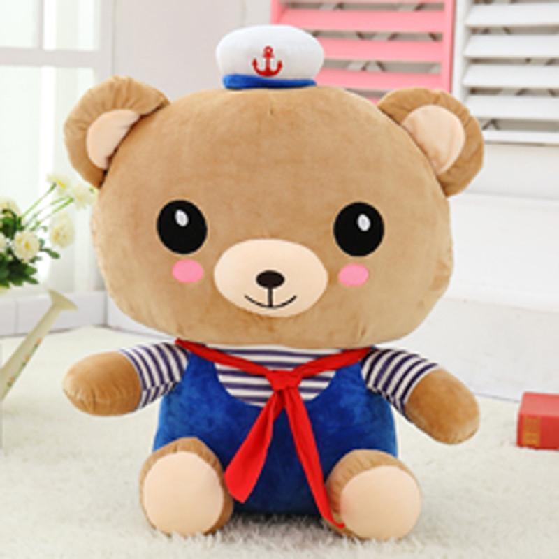 情侣轻松熊公仔可爱海军情侣款轻松小熊毛绒玩具玩偶大号布娃娃抱枕