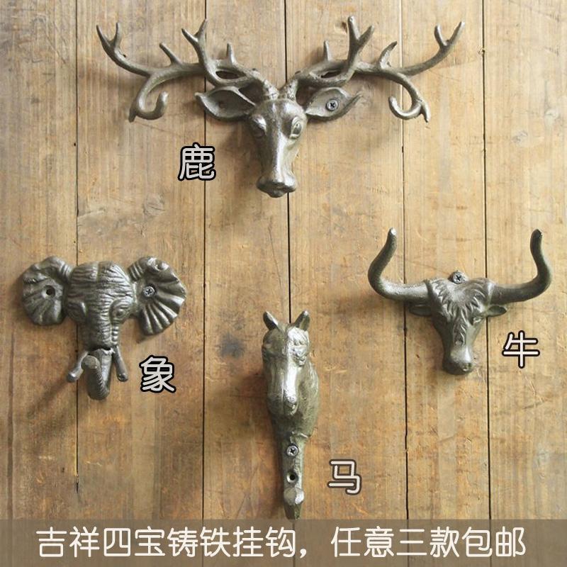 复古挂钩 服装店美式创意铸铁鹿头壁饰衣帽钩 动物装饰挂钩