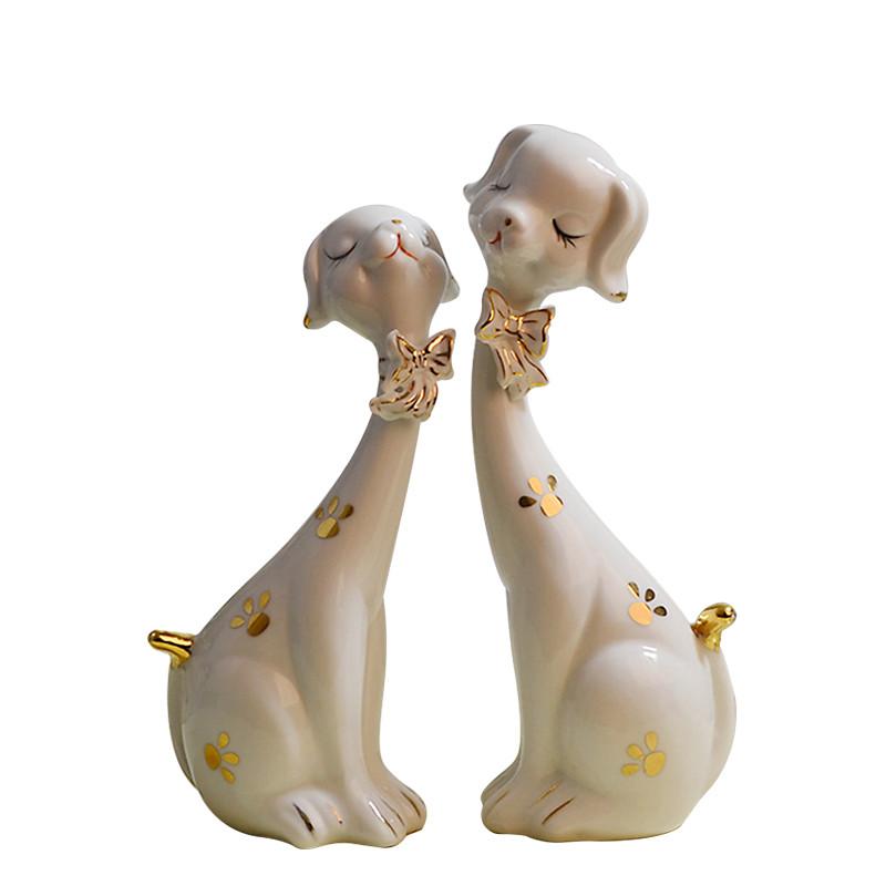 创意现代简约家居饰品摆件客厅酒柜陶瓷可爱小狗摆设新房软装饰品
