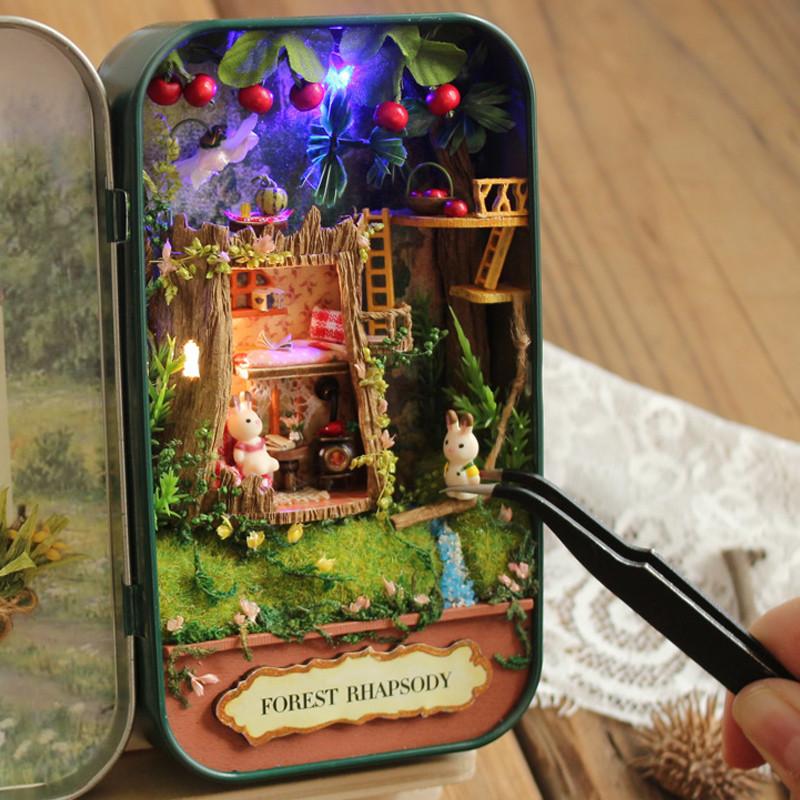 diy小屋盒子剧场手工制作房子迷你玩具模型拼装新年创意生日礼物