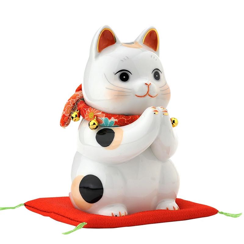 日本正版祈愿可爱招财猫陶瓷创意摆件 开业生日结婚礼物