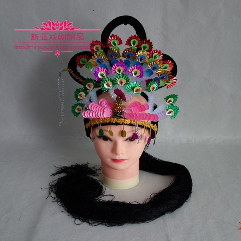 古装仙女舞蹈头饰古代小姐头发越剧花旦头套戏曲表演用品戏剧假发