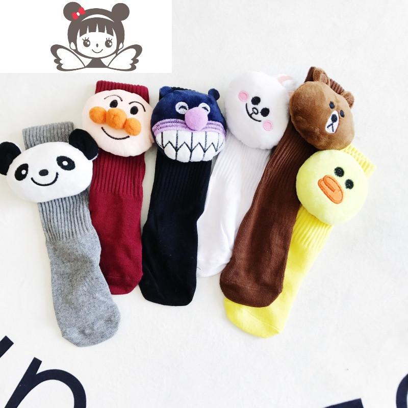 韩版春秋冬季女童棉中筒袜儿童百搭卡通动物袜宝宝袜子图片