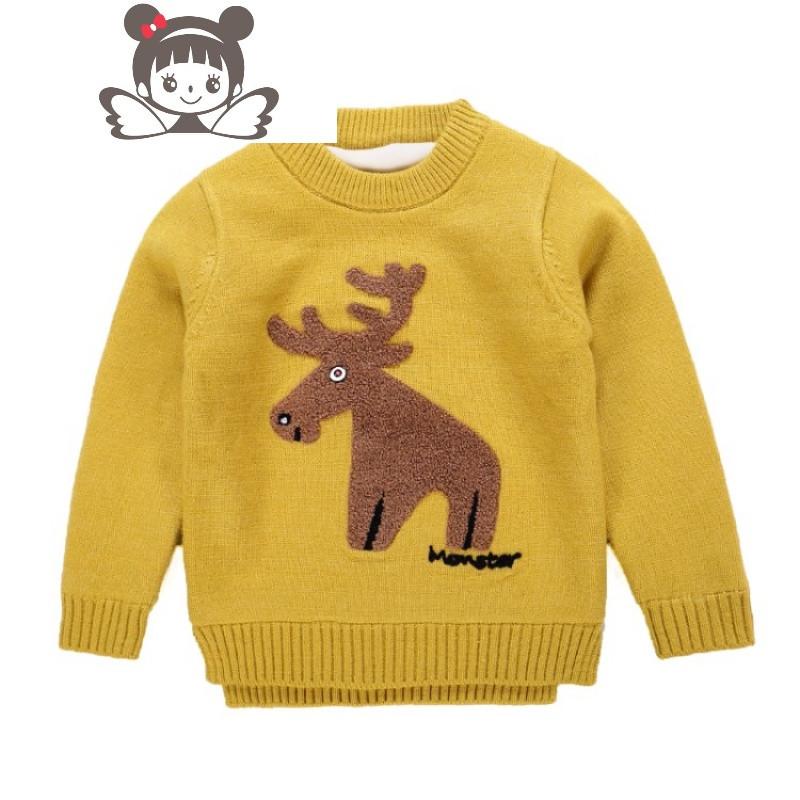 童装冬天儿童加绒加厚保暖毛衣男童1-3-5岁宝宝百搭打底衫毛衣