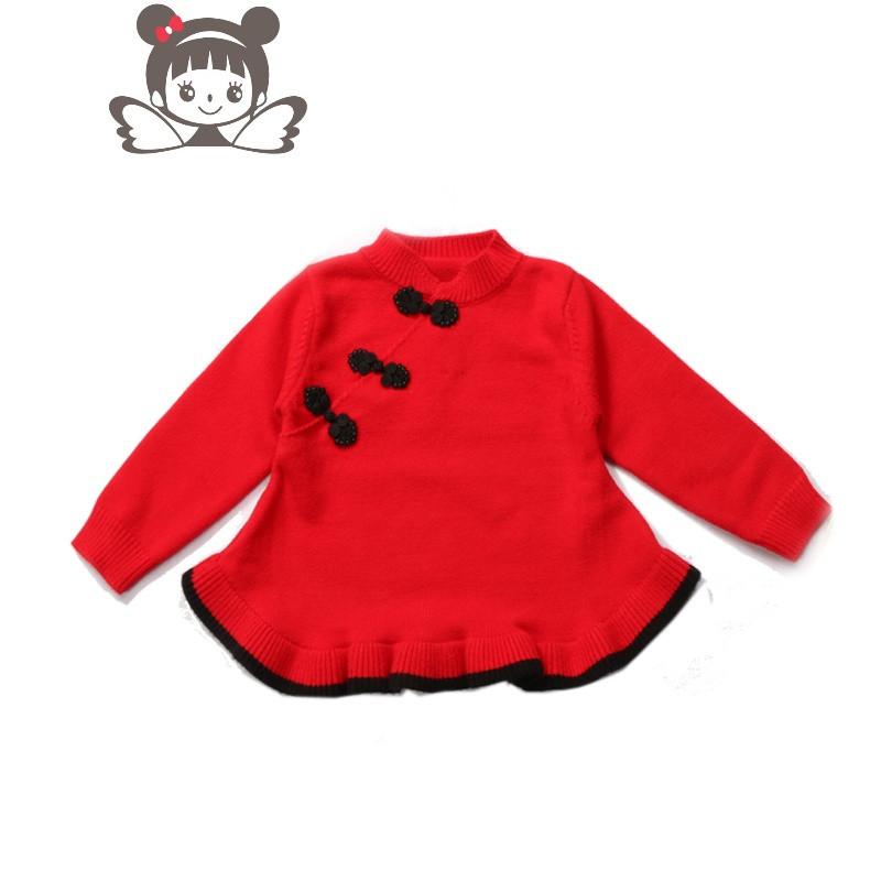 新款女童针织衫小童中国复古旗袍毛衣裙女宝宝唐装