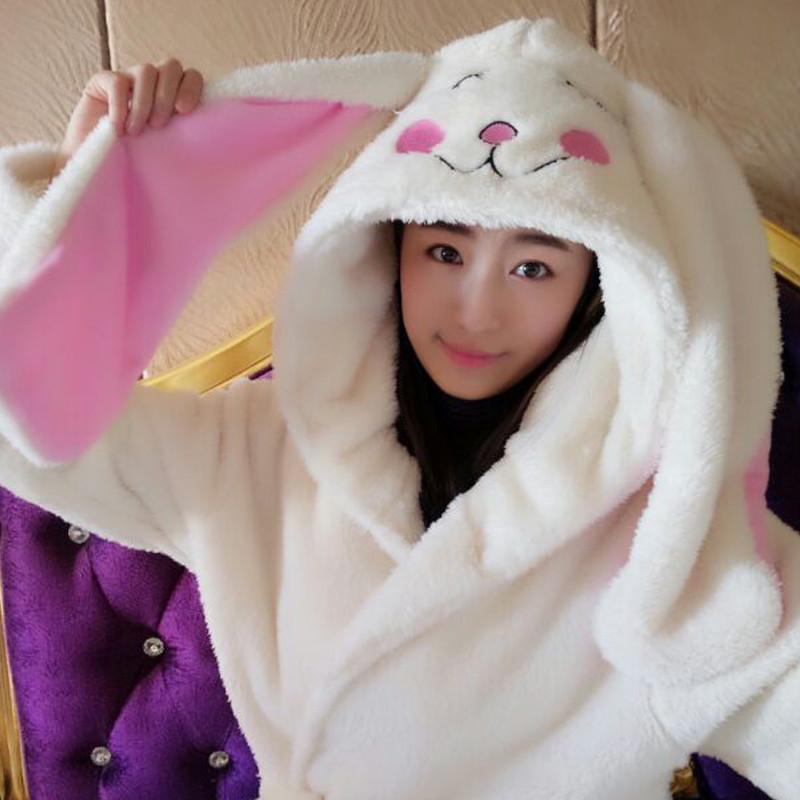 冬季可爱珊瑚绒睡袍女大耳朵兔子睡衣韩版带帽浴袍加厚