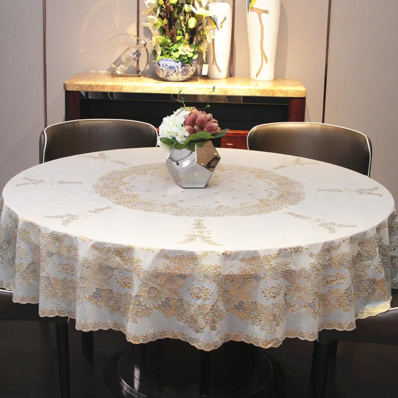 圆桌餐桌布家用客厅布艺台布欧式美式乡村防水防油防烫免洗pvc