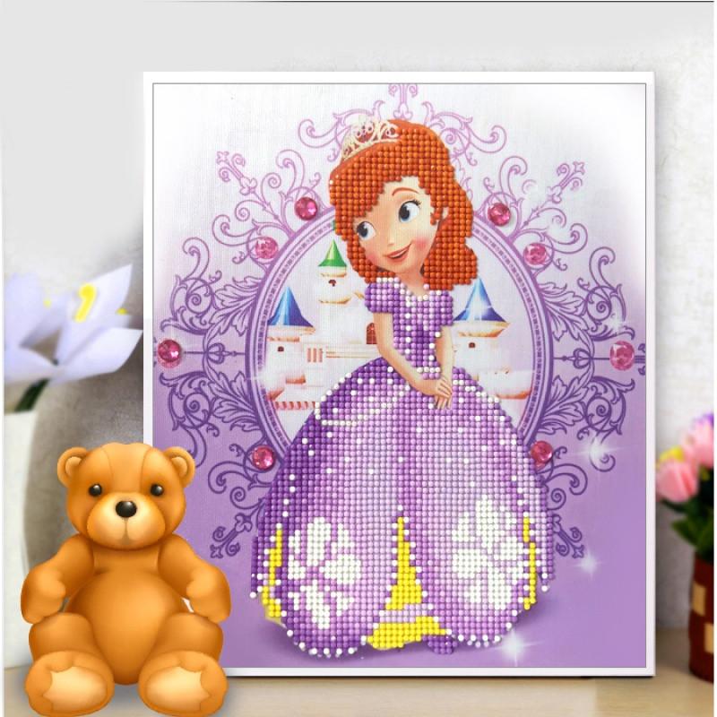 20175d儿童钻石画卡通动漫人物贴钻十字绣可爱公主砖石绣小幅