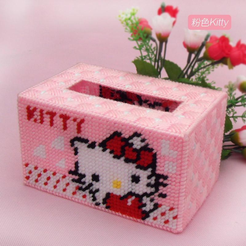 手工diy十字绣客厅3d立体绣毛线绣纸巾盒抽纸盒 kitty