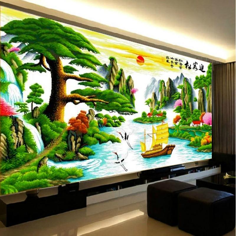 迎客松十字绣山水画风景大幅客厅简约现代线绣棉线小幅印花