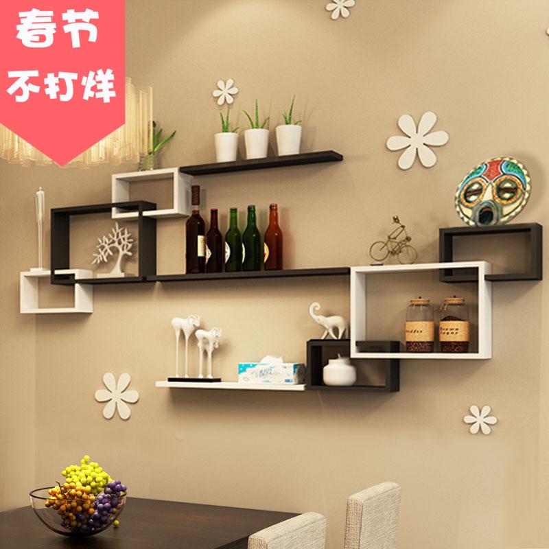 餐厅墙面装饰隔板置物架墙上客厅壁挂柜架创意格子背景影视墙造型