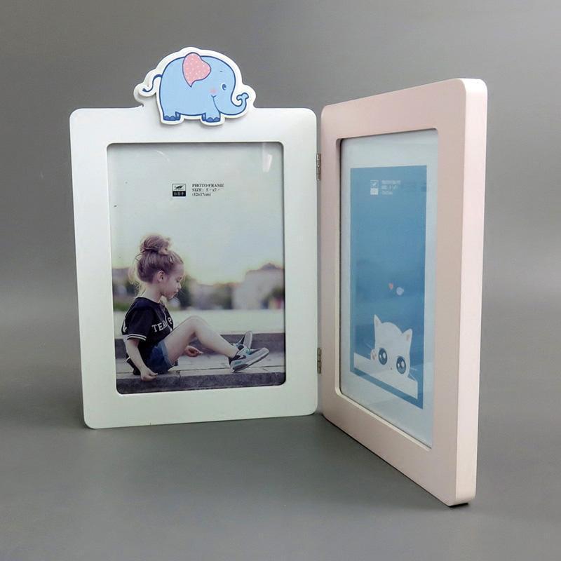 儿童可爱卡通小象实木相框摆台7寸相片框画框挂墙照片