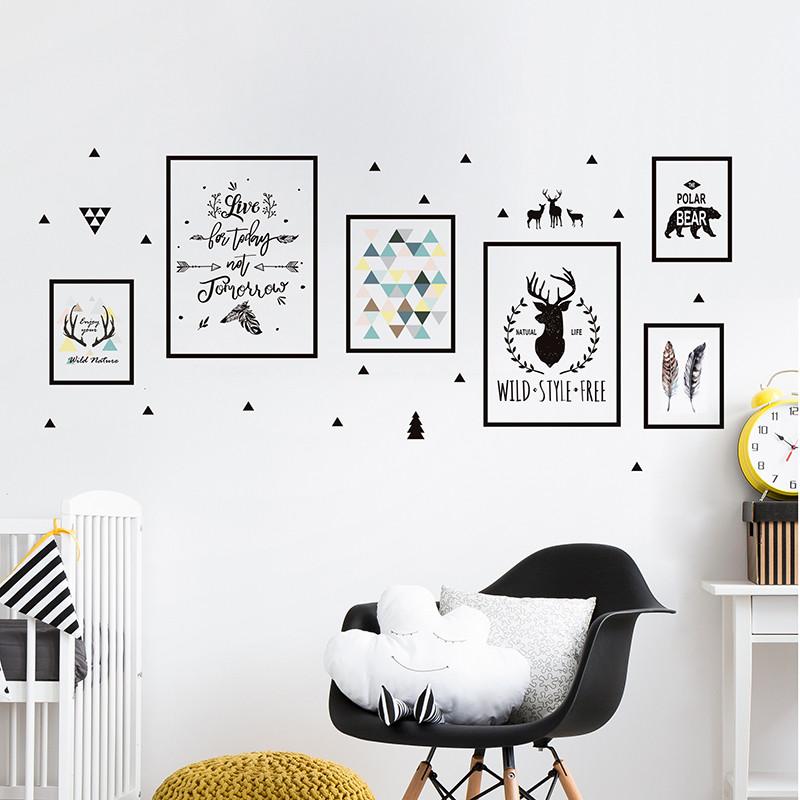 北欧风墙贴纸照片框鹿头壁纸大学生宿舍墙面装饰布置自粘贴画图片