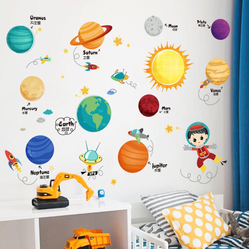 卡通儿童房宝宝卧室装饰品可爱星球墙贴纸幼儿园教室自粘早教贴画