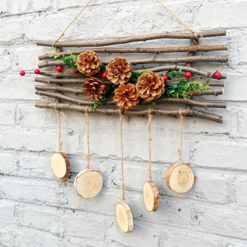 天然麻绳松果装饰挂件干树枝干花小鸟创意手工圣诞田园diy壁挂