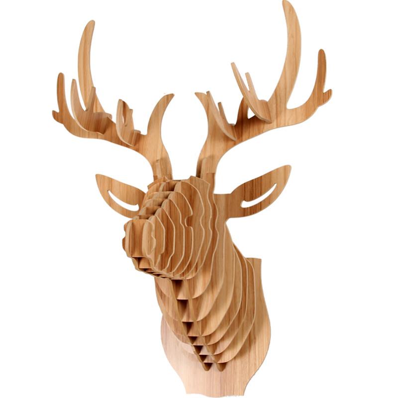 鹿头壁挂木质动物墙饰北欧创意家居玄关壁饰服装店墙面装饰品图片