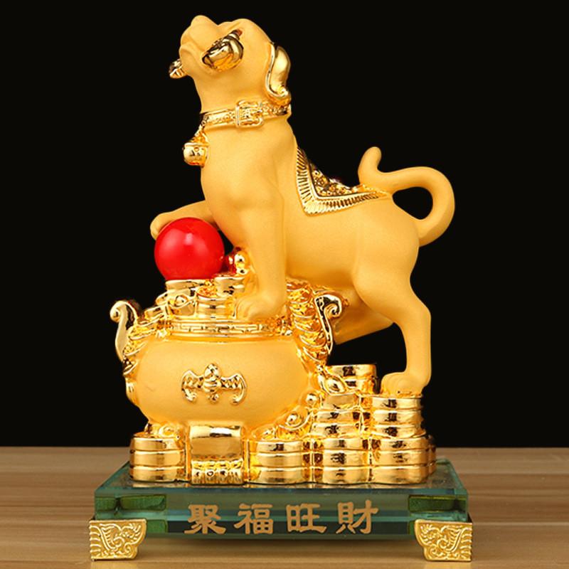 2018狗年吉祥物绒沙金狗摆件工艺品旺财招财家居摆设装饰新年礼品