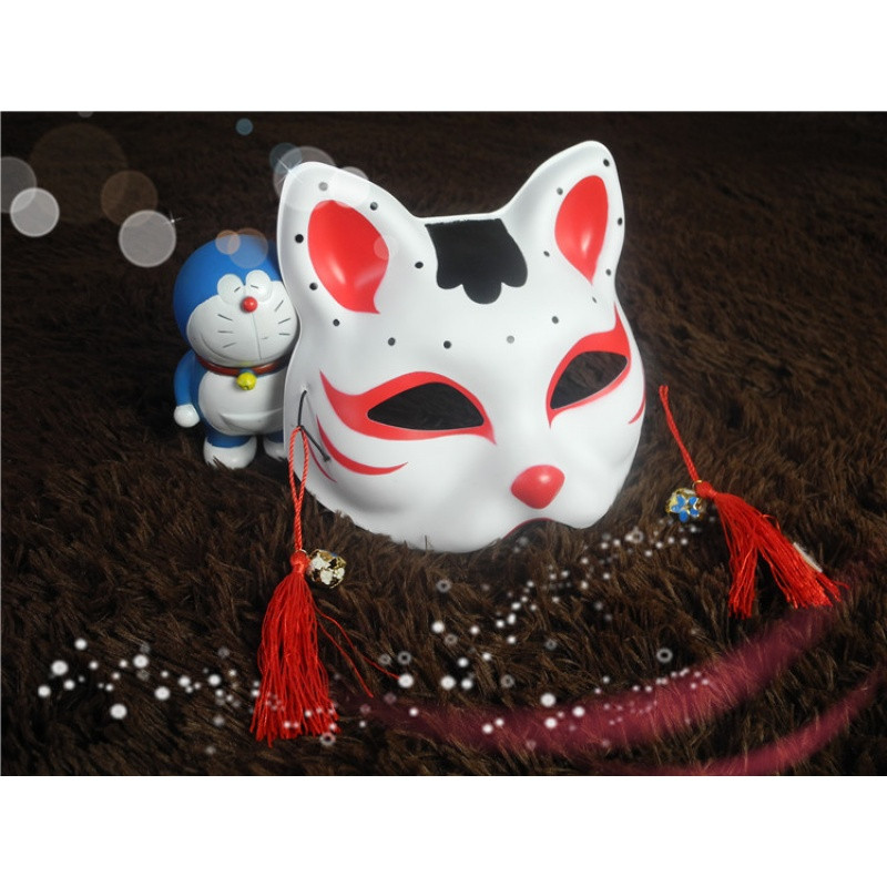 猫脸面具手绘 日式和风狐狸 动漫同款男女半脸猫cosplay化妆舞会