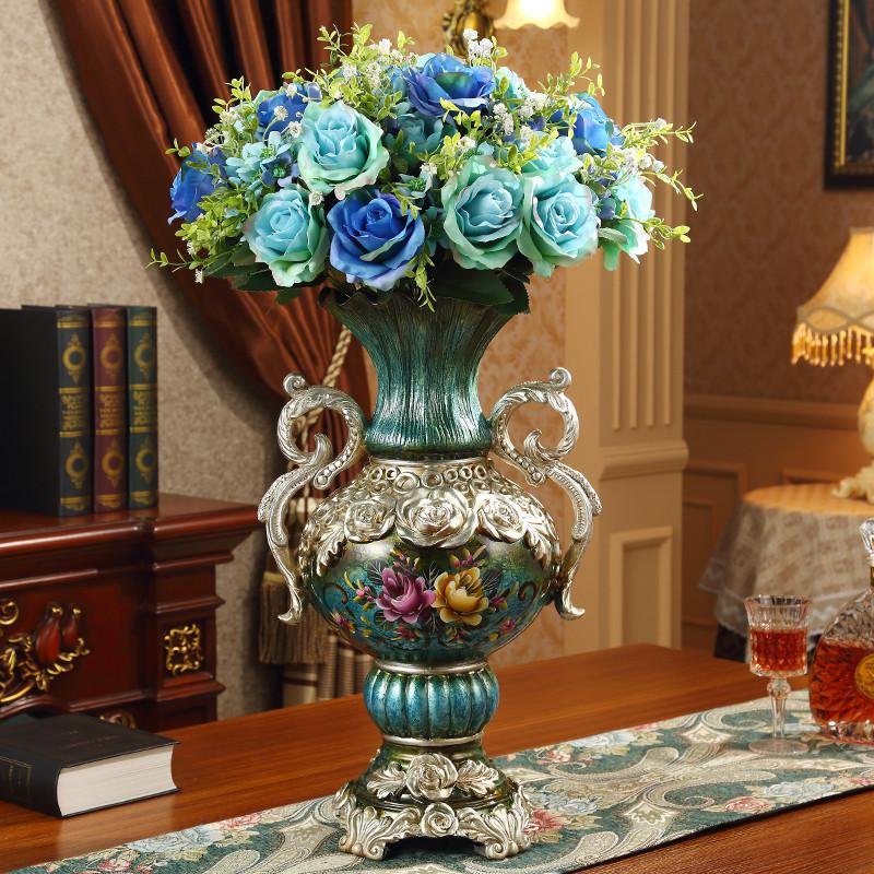 欧式花瓶复古创意客厅家居装饰品落地大号花瓶插花摆件工艺品