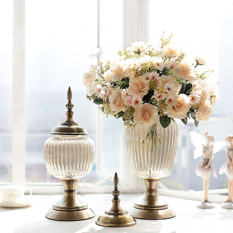 欧式透明玻璃花瓶摆件创意客厅餐桌插花干花玻璃瓶仿真花家居饰品图片