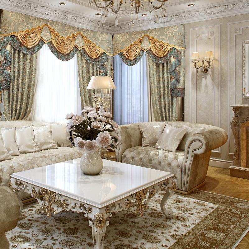 欧式窗帘客厅成品_大气欧式窗帘豪华客厅全遮光卧室窗帘成品落地窗美式窗帘