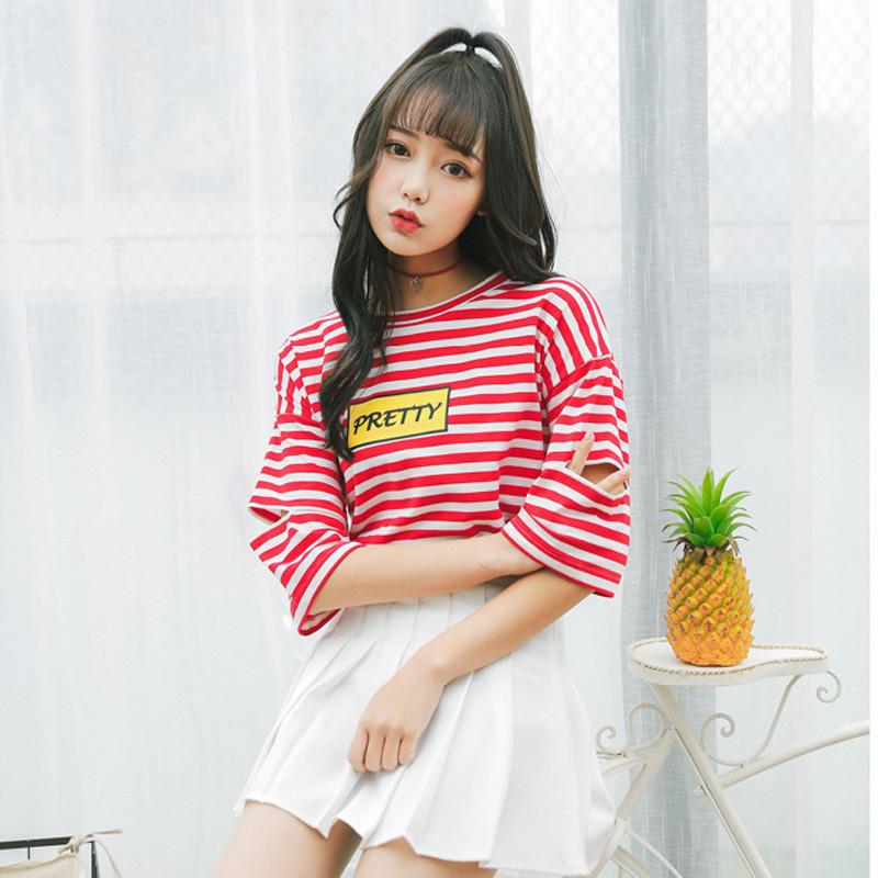 短袖t恤女2017新款宽松夏装韩版条纹学生个性百搭上衣