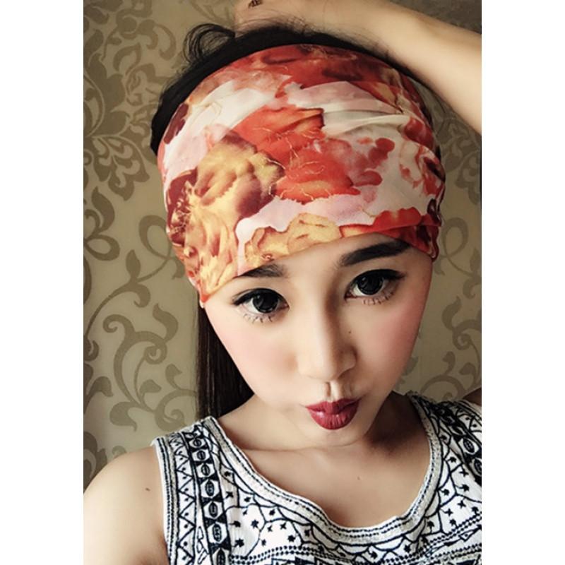 花色发带宽边欧美弹力网纱透气头饰发带发箍布艺韩国方便头巾套头