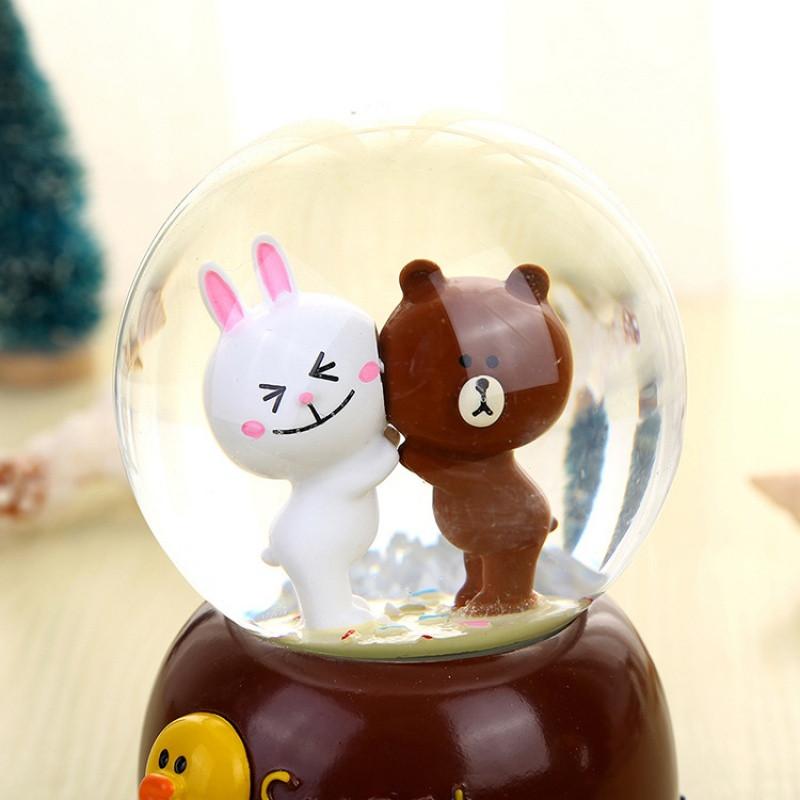 布朗熊音乐盒可爱卡通八音盒情侣礼物七彩夜光水晶球飘雪