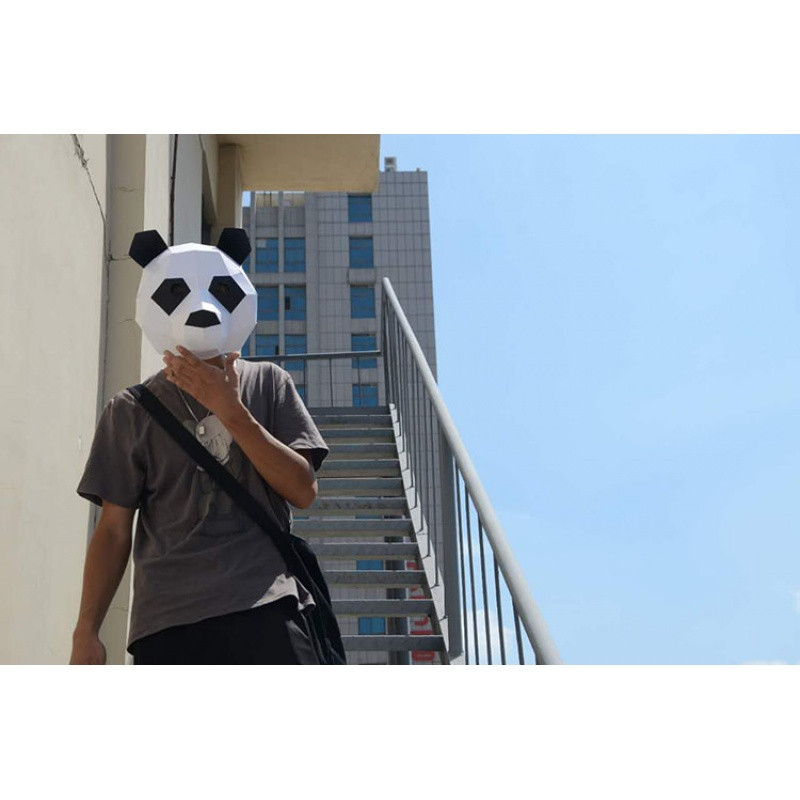 熊猫面具头套动物纸模diy材料派对化妆舞会年会圣诞节