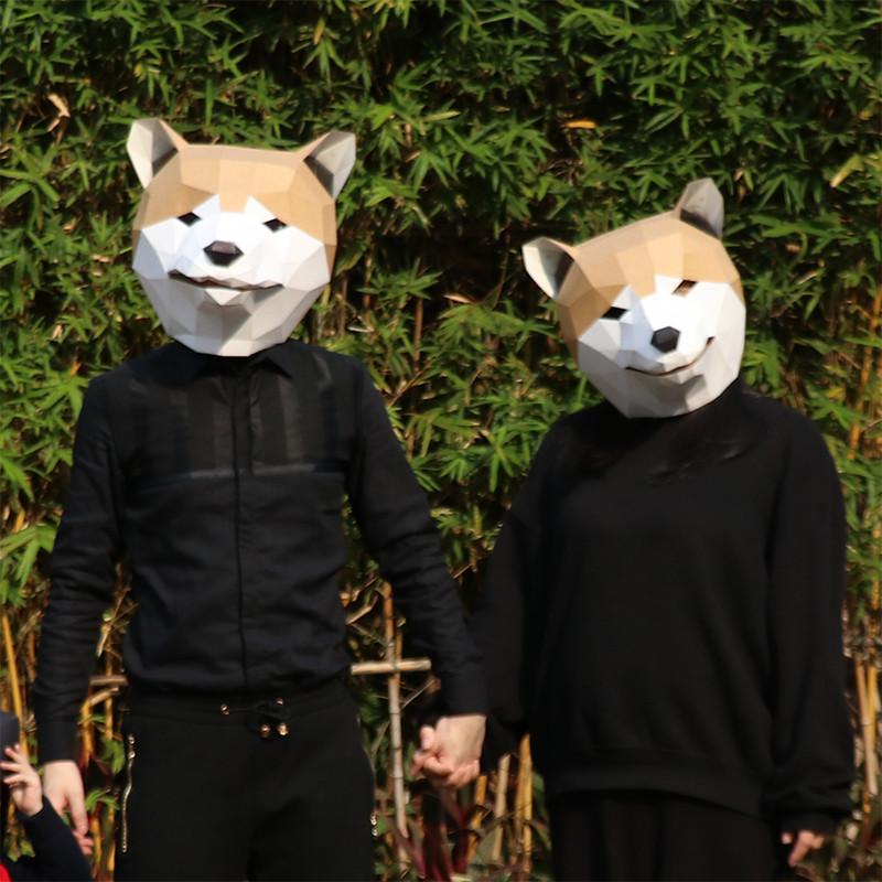 创意秋田犬柴犬哈士奇二哈狗动物面具头套纸模年会派对道具