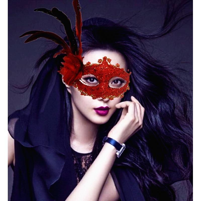 冰冰圣诞节年会公主面具羽毛眼罩男女主播半脸面罩女情趣舞会面具