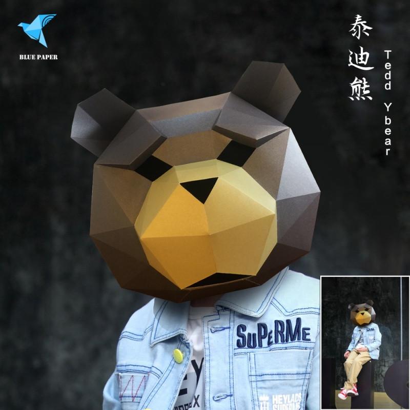 熊猫头套道具泰迪熊面具幼儿园儿童成人全脸可爱男女拍摄创意折纸