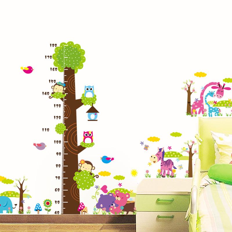 卧室客厅背景墙贴贴纸儿童房装饰墙贴画 量身高卡通墙贴